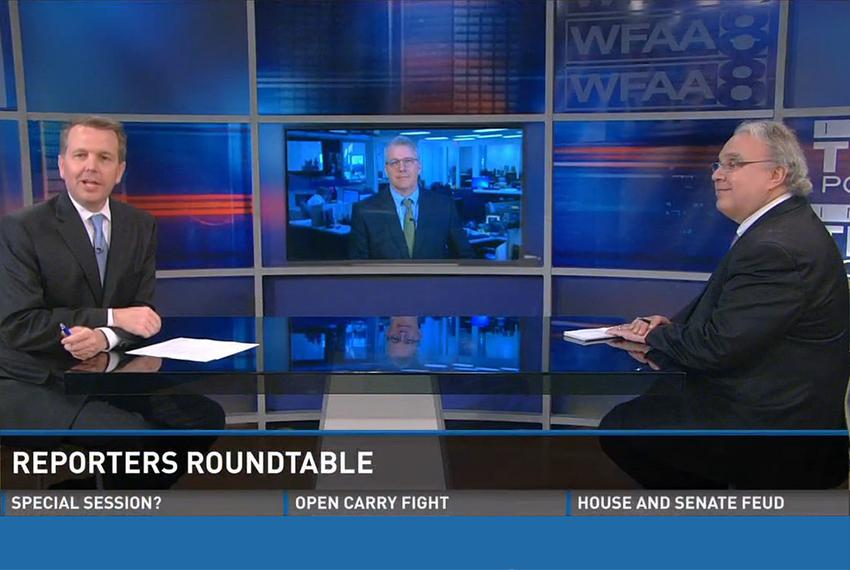 WFAA-TV's Inside Texas Politics with (l-r) host Jason Whitely, Tribune Executive Editor Ross Ramsey and the Fort Worth Star-…
