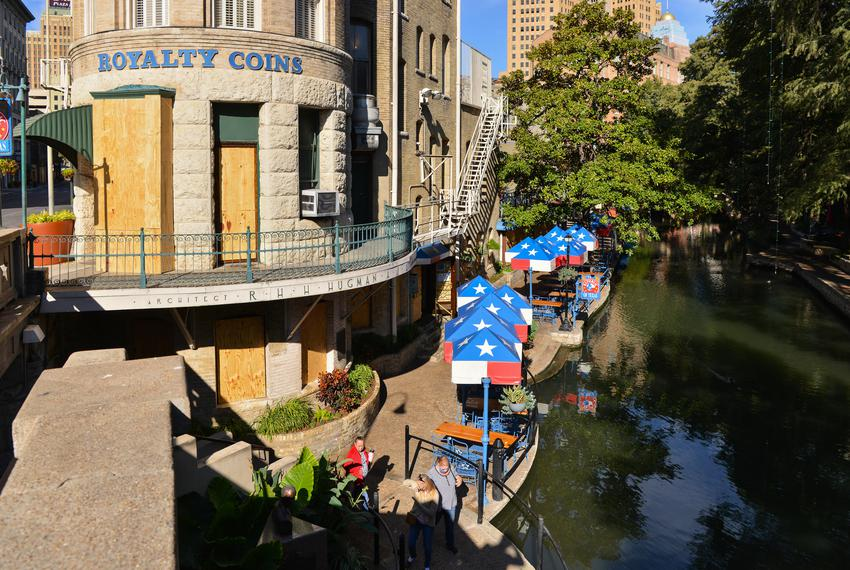 Buildings along the San Antonio Riverwalk are boarded up as a precaution against any civil unrest that may happen as a resul…