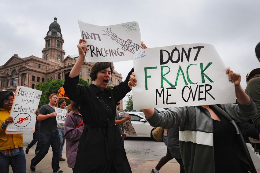 Demonstrators protest against natural gas drilling in downtown Fort Worth, Wednesday April 20th, 2011. The day marked the one year anniversary of BP's Deepwater Horizon rig explosion in the Gulf of Mexico.