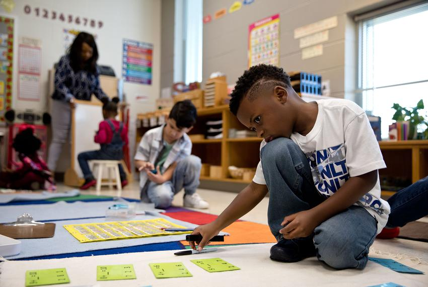 Class ambassador Letrevian Brown works silently at his own pace at East Texas Montessori Prep Academy.