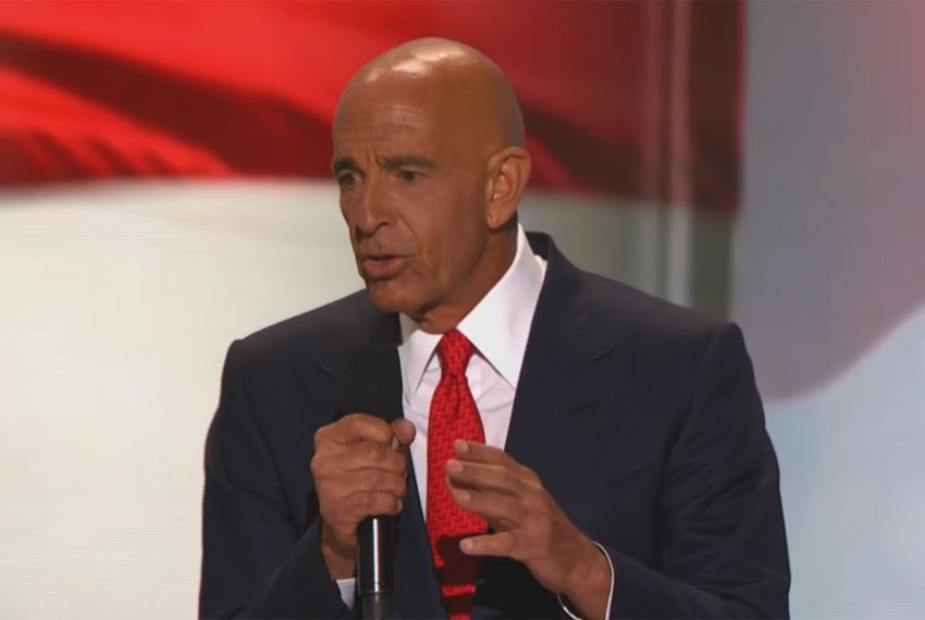 Tom Barrack speaks at the Republican National Convention in Cleveland, Ohio, on July 21, 2016.