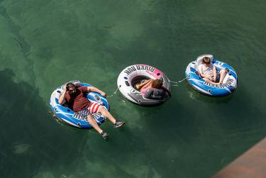 Tubing in New Braunfels, TX on July 4, 2020.