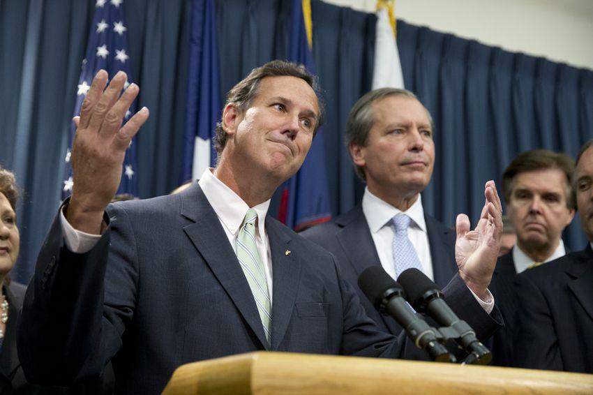 Former U.S. Senator and presidential candidate Rick Santorum speaks to the Capitol press on the Senate's pending abortion legislation on July 11, 2013.