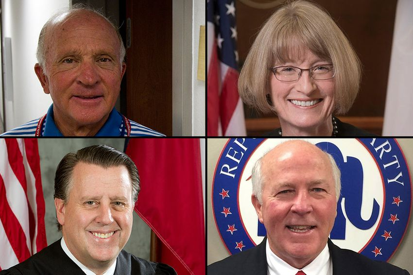 "Democrat Lawrence ""Larry"" Meyers (top left) will face the winner of the Republican primary for Court of Criminal Appeals Place 2. The GOP candidates are Mary Lou Keel (top right), Chris Oldner (bottom left) and Ray Wheless (bottom right)."