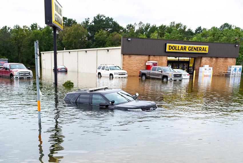 A police vehicle is partially submerged as Tropical Depression Imelda causes widespread flooding near Beaumont, TX. Thursday, Sept. 19, 2019.Bmt Flooding 8426