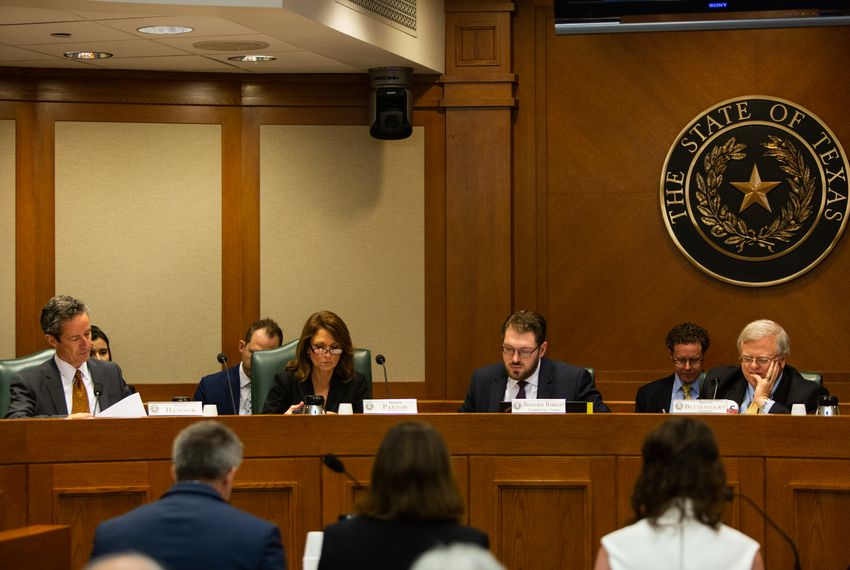 State Sen. Paul Bettencourt, right, R-Houston, chairs the upper chamber's Property Tax Committee. At a hearing last week, he brushed aside local leaders' arguments that SB 2 would constrain city and county budgets.