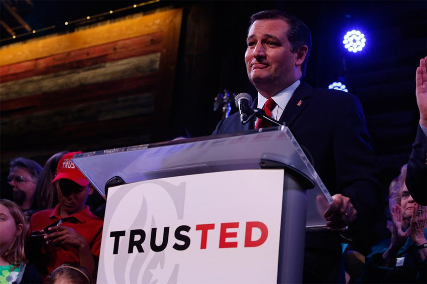 U.S. Sen. Ted Cruz on stage at the Redneck Country Club in Stafford, Texas on the evening of the Texas primary on Mar. 1, 2016.