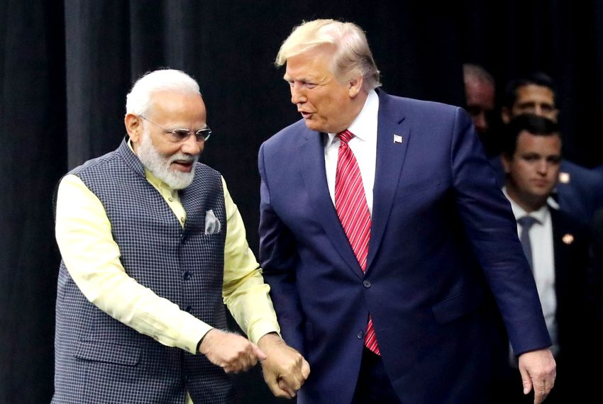 President Donald Trump and Indian Prime Minister Narendra Modi praised each other at the Howdy Modi event Sunday in Houston.
