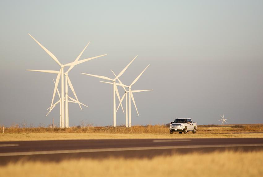 A wind farm in Harrold.