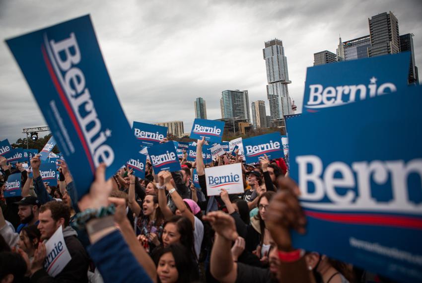 Democratic presidential candidate Bernie Sanders speaks at his campaign rally in Austin on Feb. 23, 2020.