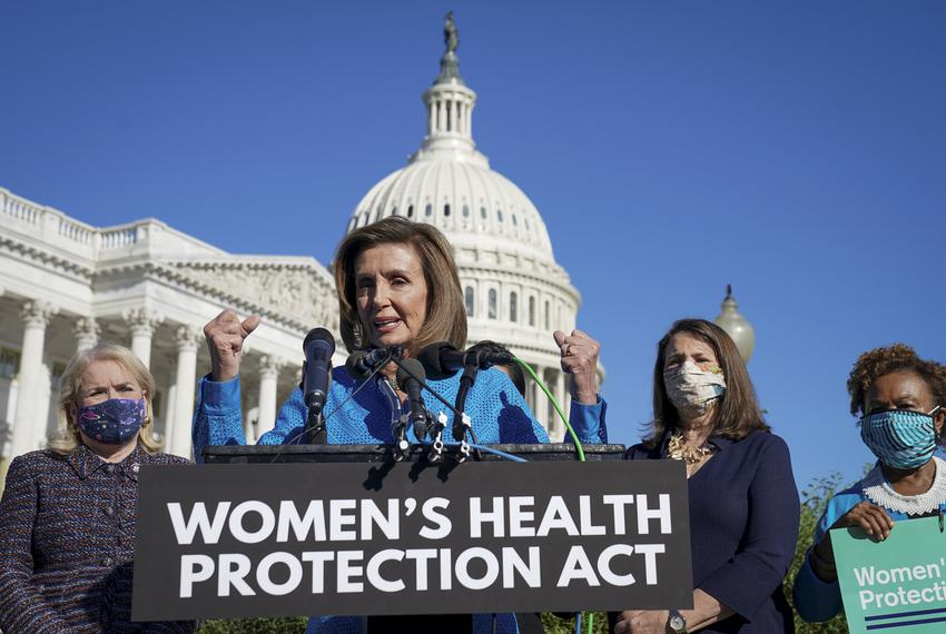 """House Speaker Nancy Pelosi spoke during a news conference about the House vote on H.R. 3755, the """"Women's Health Protection …"""
