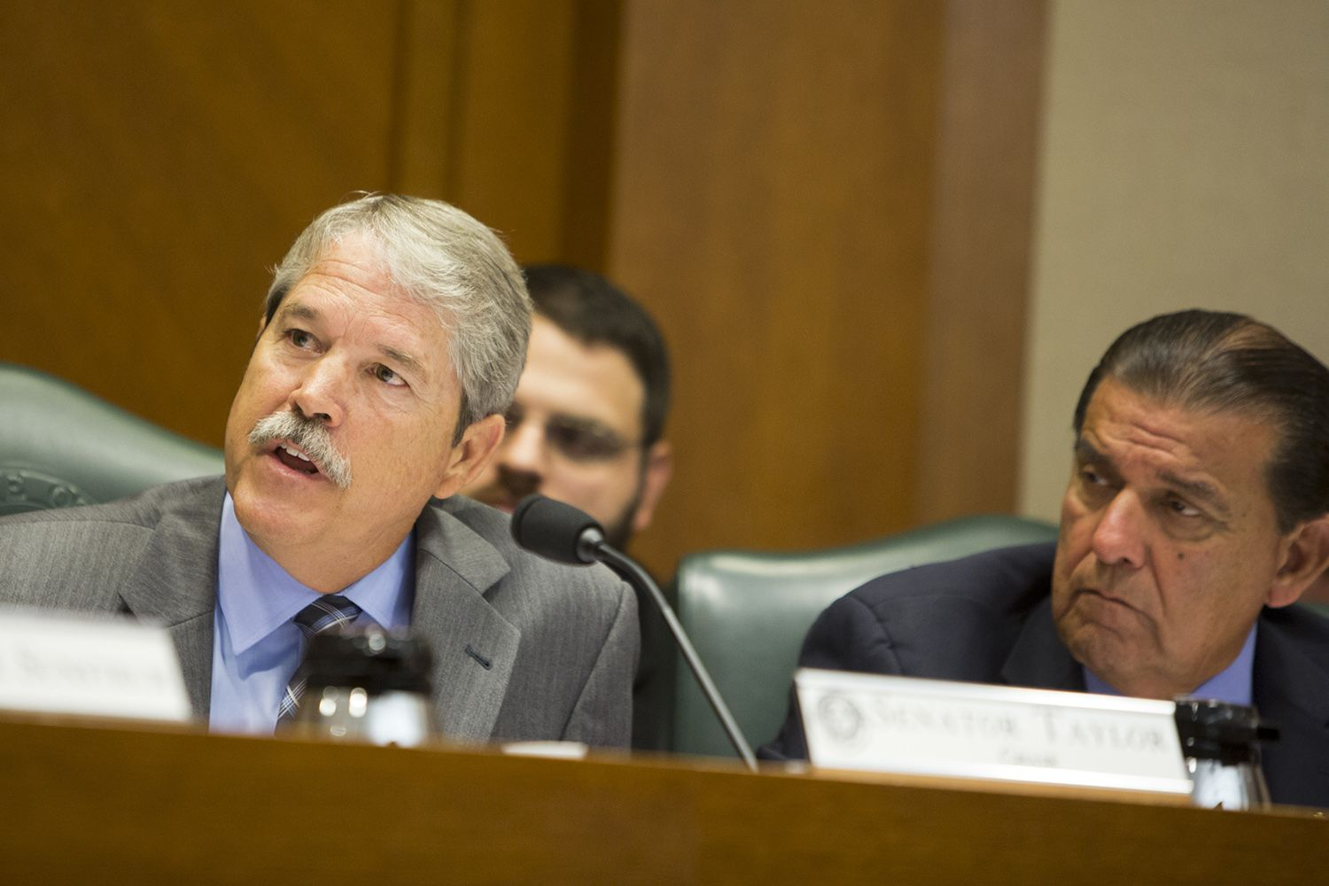 State Sen. Larry Taylor, R-Friendswood, during a July 21, 2017 Senate Public Education Committee hearing. Sen. Eddie Lucio Jr., D-Brownsville, is seated to his left.