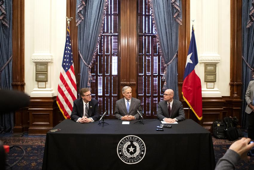 Lt. Gov. Dan Patrick, Gov. Greg Abbott and House Speaker Dennis Bonnen speak at a press conference regarding property taxe...