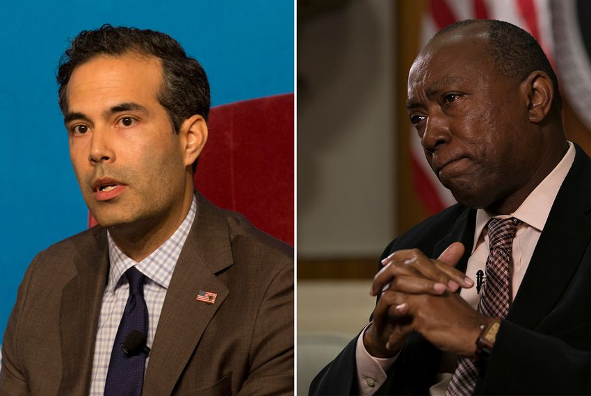 Texas General Land Commissioner George P. Bush (left) and Houston Mayor Sylvester Turner.