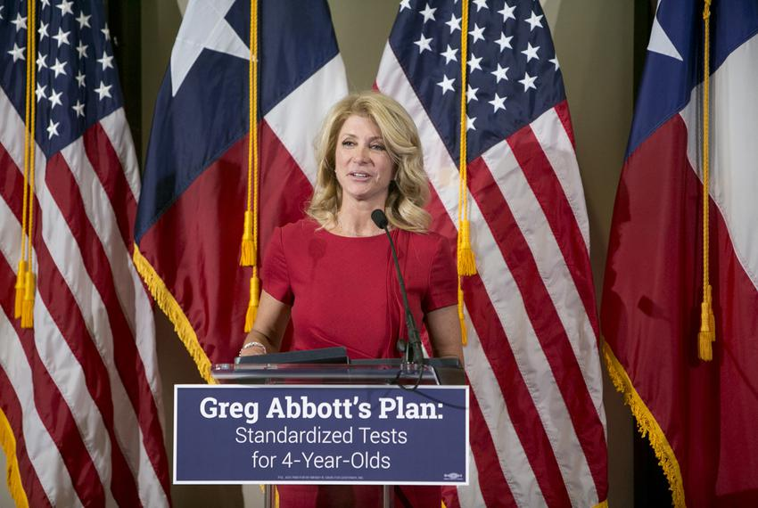 Texas Senator and Gubernatorial candidate, Wendy Davis during an education rally in Austin on April 14th, 2014