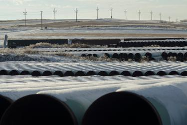 A depot used to store pipes for Transcanada Corp's planned Keystone XL oil pipeline is seen in Gascoyne, North Dakota, on Nov. 14, 2014.