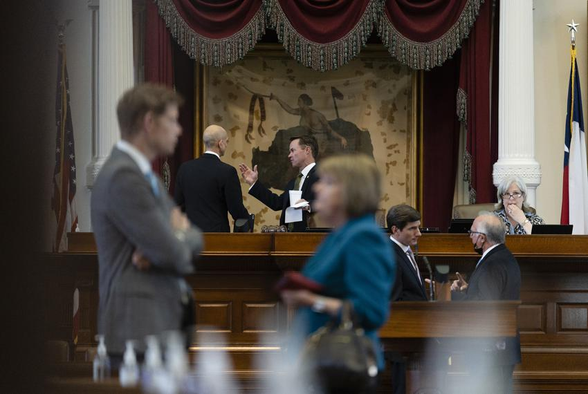 House Speaker Dade Phelan talks to State Rep. Greg Bonnen, R-Friendswood, on the House Floor after ending the first special …
