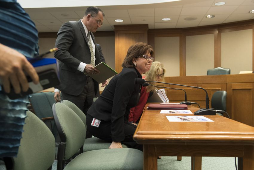 Texas Alcoholic Beverage CommissionExecutive Director Sherry Cook prepares to testify before the House Committee on General Investigating & Ethics on April 13, 2017.