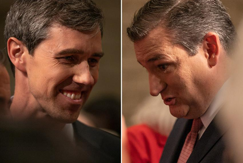 U.S. Rep. Beto O'Rourke, D-El Paso, (left) and U.S. Sen. Ted Cruz, R-Texas, at the first of their debates, in Dallas on Se...