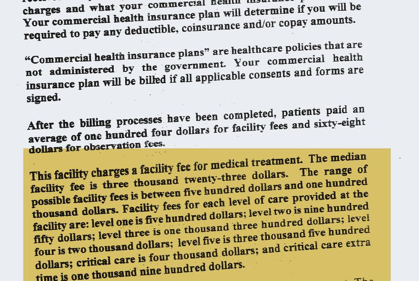 """A portion of the document given to Rachel de Cordova at SignatureCare highlighted by ProPublica describes fees for the """"faci…"""