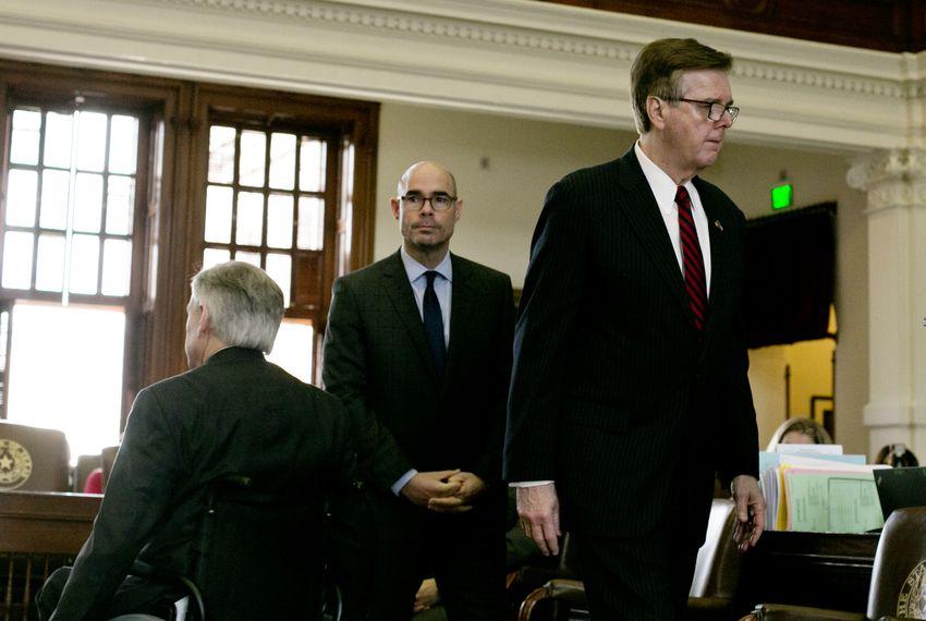 From left: Gov. Greg Abbott, House Speaker Dennis Bonnen and Lt. Gov. Dan Patrick attended the Texas Fallen Heroes Memorial Ceremony on May 25.