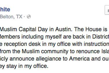 Screenshot of the Facebook post of state Rep. Molly White, R-Belton, on Jan. 29, 2015.