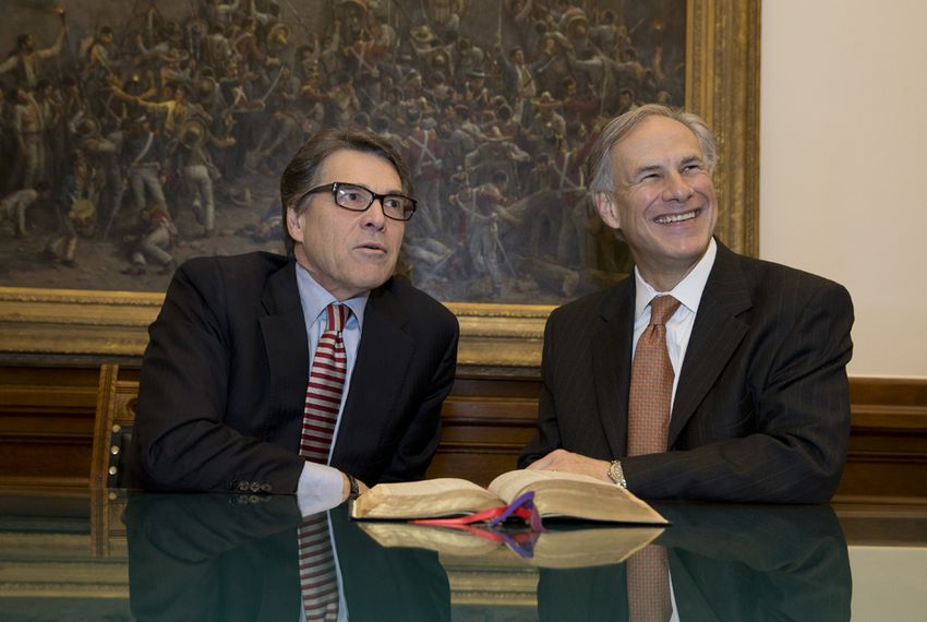 The day before Greg Abbott was sworn in as governor, he met with his predecessor, Gov. Rick Perry, who marked the 1925 Pat Neff Bible on Jan. 19, 2015, and passed it on to Abbott.