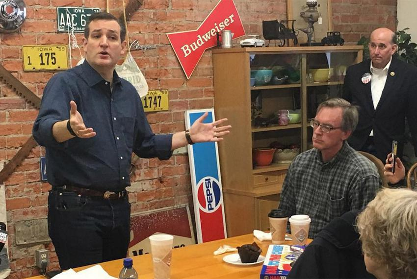 U.S. Sen. Ted Cruz, left, speaks at a campaign event on Nov. 28, 2015, in Iowa as U.S. Rep. Louie Gohmert, far right, looks …