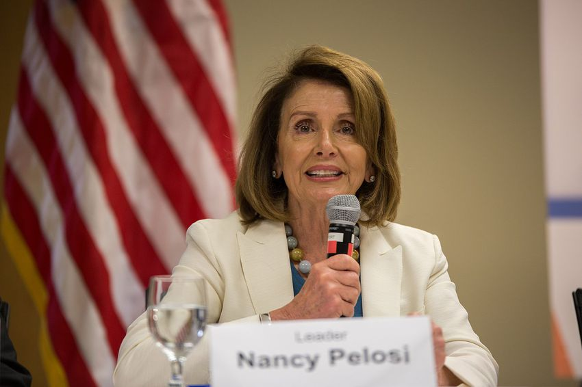 House Minority Leader Nancy Pelosi speaks at the Clinical Education Center at Brackenridge on April 20, 2017.