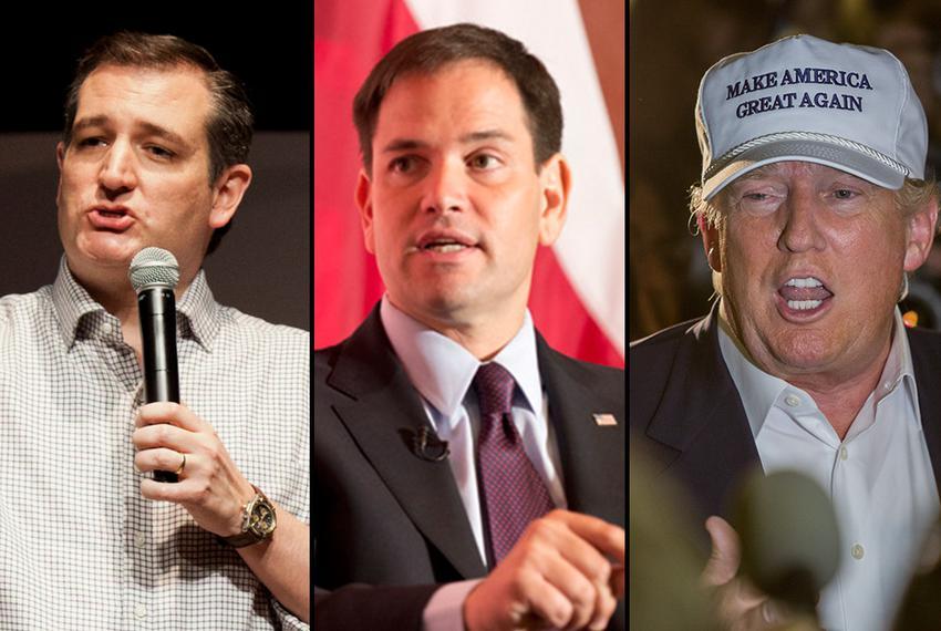 Republican presidential candidates: U.S. Sens. Ted Cruz of Texas, U.S. Sen. Marco Rubio of Florida and billionaire Donald ...
