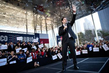 Republican presidential hopeful Marco Rubio speaks at Klyde Warren Park in Dallas on Feb. 26, 2016.