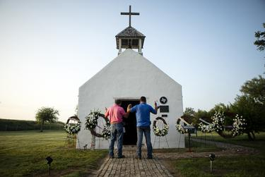At the historic La Lomita Chapel in Mission, Rio Grande Valley residents held an early-morning vigil for migrants who drowned attempting to cross the Rio Grande, on June 28, 2019.