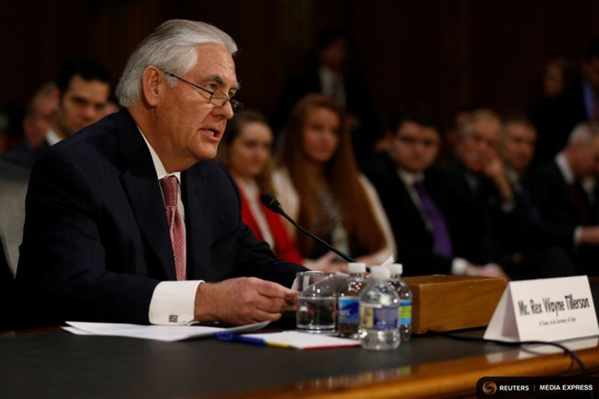 Rex Tillerson, the former chairman and chief executive officer of Exxon Mobil, testifies before a Senate Foreign