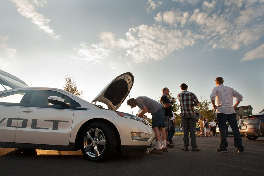 Residents in the Mueller development area shows up to check out the Chevy Volt which is powered by electricity, on 27th September 2011.