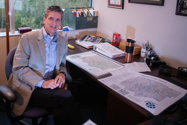 Kevin Feldt, a program manager for the North Central Texas Council of Governments, in his Arlington office where he works on transportation plans for the Dallas-Fort Worth area.