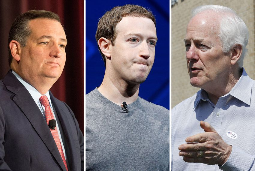 U.S. Sen. Ted Cruz, Facebook CEO Mark Zuckerberg and U.S. Sen. John Cornyn.