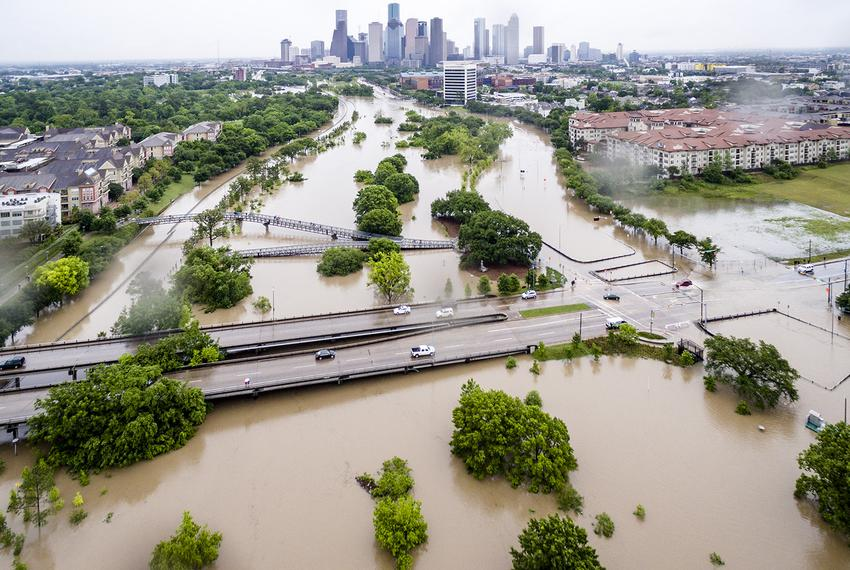 "Aerial shot of downtown Houston from the Montrose neighborhood during the ""Tax Day Flood"" on April 18, 2016."