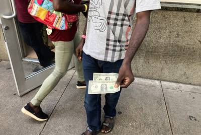 Evaristo, a migrant from Angola traveling with his wife and three kids, arrived at San Antonio's Migrant Resource Center the last week of June with $2 in his pocket.