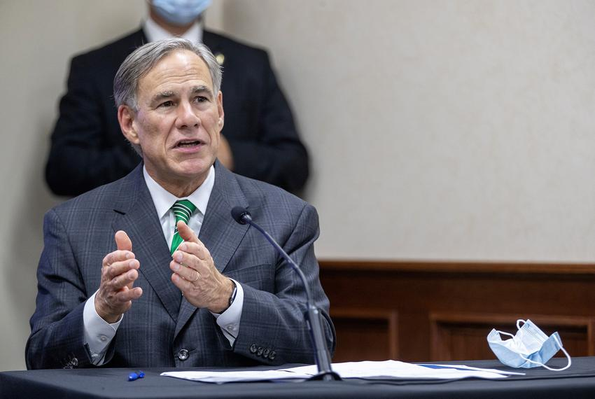 Gov. Greg Abbott gives an update on Texas hospital bed capacity and the state's strategy for fighting COVID-19 during a pres…