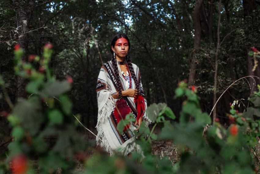 Chiara Sunshine Beaumont at the Circle Acres Nature Preserve in Austin on Sept. 18, 2021. Chiara held a cleansing ceremony a…