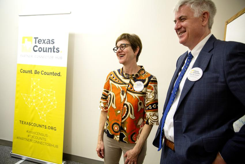Center for Public Policy Priorities CEO Ann Beeson and Educate Texas Executive Director John Fitzpatrick at the launch of ...