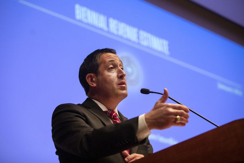Comptroller Glenn Hegar unveiled his revised fiscal forecast Tuesday.