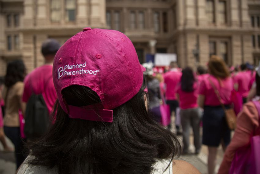 Planned Parenthood advocates rally outside of the Capitol.