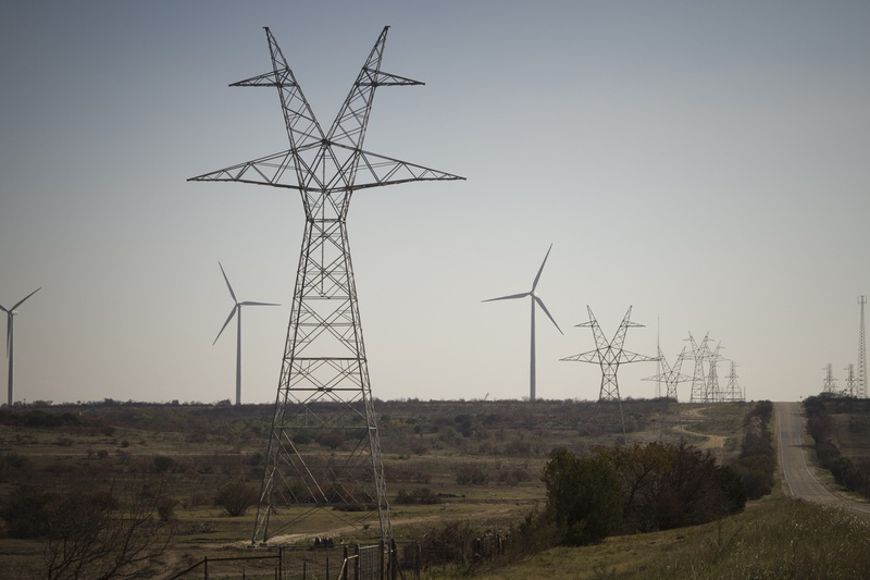 Transmission lines near Sweetwater that will connect windy regions of the state to major population centers.