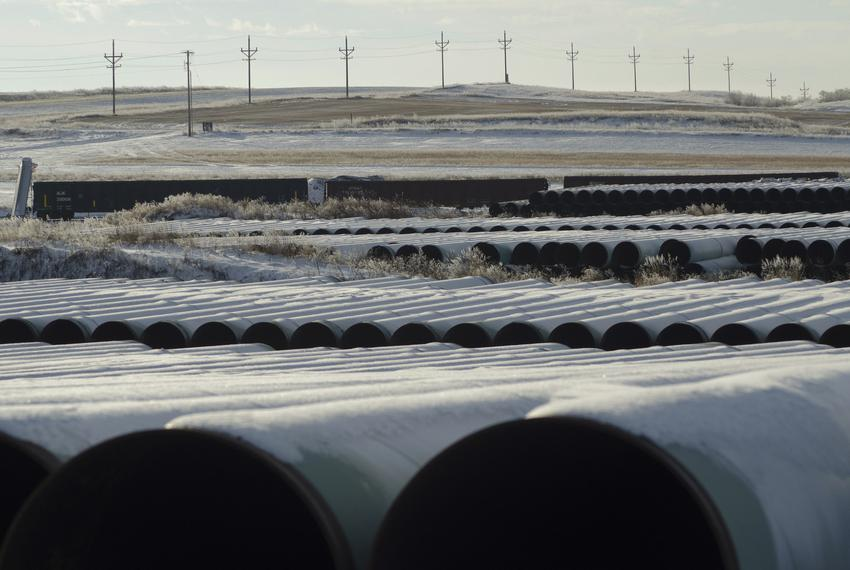A depot used to store pipes for Transcanada Corp's planned Keystone XL oil pipeline is seen in Gascoyne, North Dakota, on No…