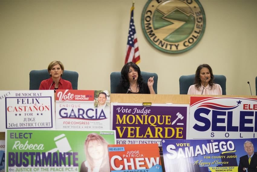 Left to right: Dori Fenenbock, Norma Chávez and Veronica Escobar during the Tejano Democrats Endorsement Forum at El Paso ...