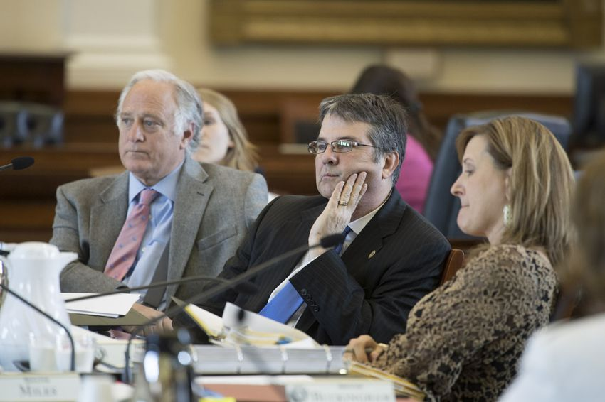Sen. Charles Perry, R-Lubbock, listens to witness testimony on several bills in Senate Health and Human Services Committee on April 5, 2017.