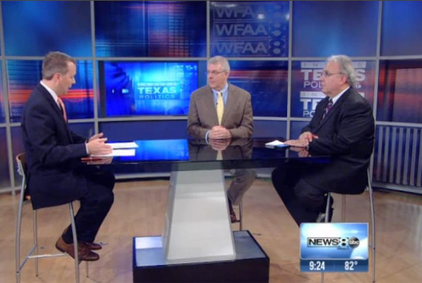 (L-R) WFAA-TV's Jason Whitely, Texas Tribune Executive Editor Ross Ramsey and Fort Worth Star-Telegram columnist Bud Kennedy…
