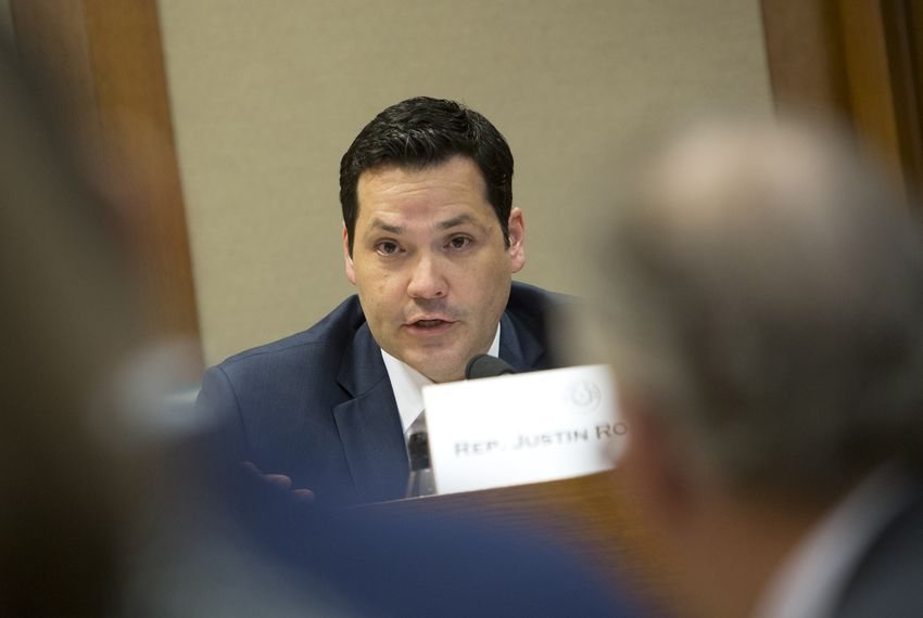 State Rep. Justin Rodriguez, D-San Antonio, during a hearing held by the Interim Committee on Higher Education Formula Funding in Austin on Feb. 21, 2018.
