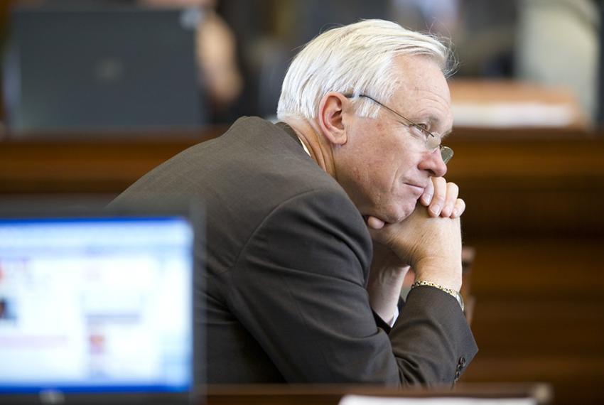 Sen. Steve Ogden, R-Bryan, ponders Democratic speeches before the vote on the Senate budget bill May 4, 2011.